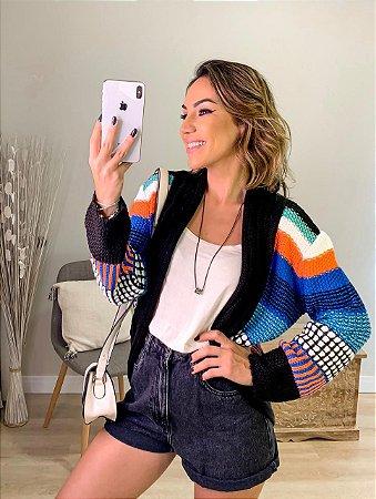 Casaco de tricot color mix - Preto
