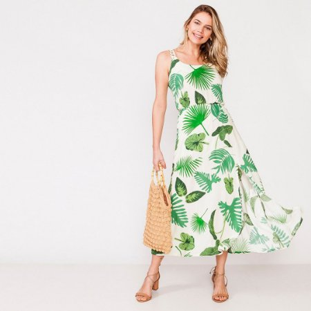 Vestido longo estampa verde tropical