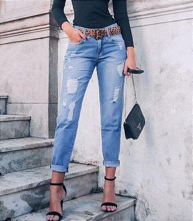 Calça jeans boyfriend destroyed - Camila