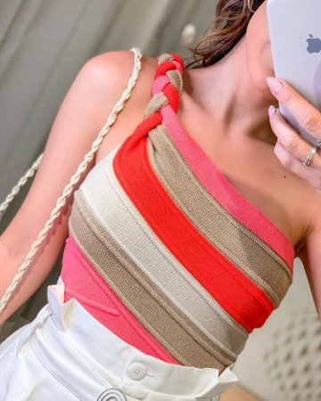 Blusinha em modal com alça de trança - Coral