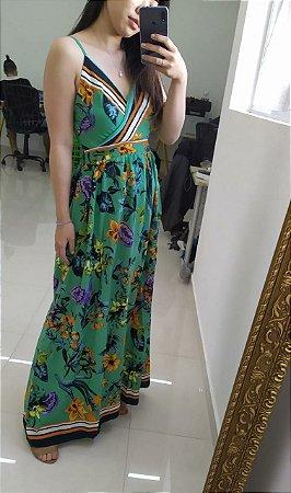 Vestido longo com estampa floral - Verde - Tamanho P