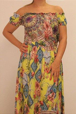 Vestido longo de tecido com estampa floral
