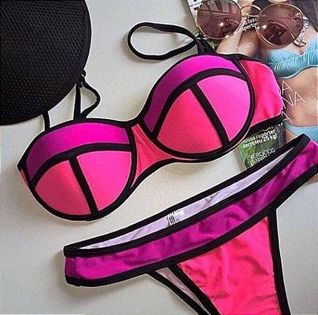 Biquíni 3D  na cores pink ,  pesssego e coral