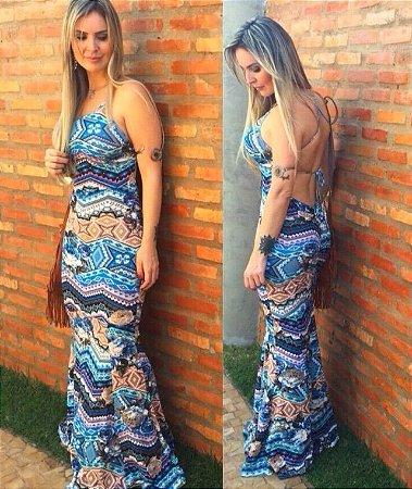 Vestido longo sereia com estampa em tons de azul