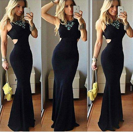 Vestido longo sereia preto com recorte nas costas