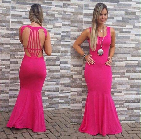 Vestido pink baphônico com as detalhes em tiras nas costas