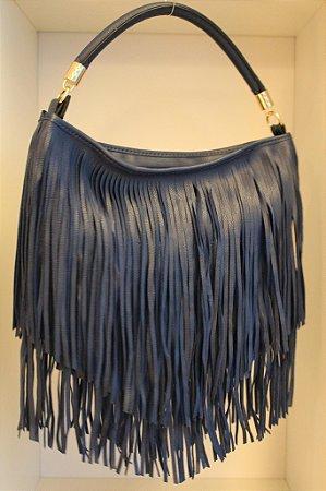 Bolsa em couro eco azul marinho e franjas