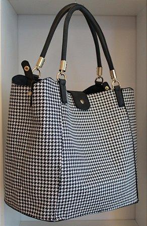 Bolsa dupla face em pied de poule ou preta com bolsa interna removível e segunda alça