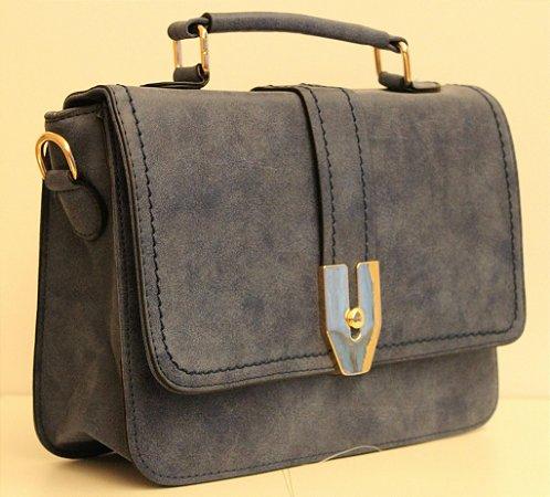 Baby bag em couro eco azul marinho com alça removível