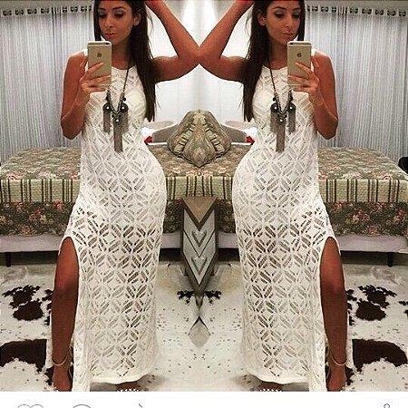 Vestido longo de tricot branco lindo de viver