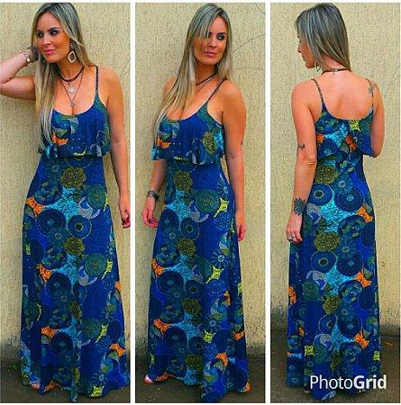 Vestido longo sereia com estampas circulares  multicoloridas