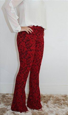 Calça flare jacquard vermelho queimado com estampa maravilhosa