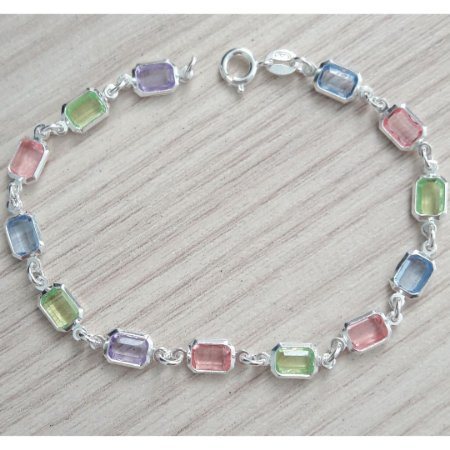 PULSEIRA DE PRATA CANDY COLORS