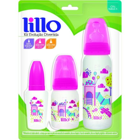 Kit com 3 Mamadeiras Evolução Divertida - Rosa- Lillo