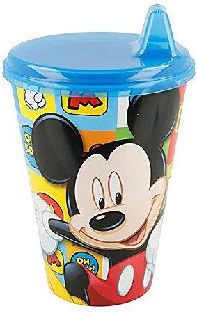 Copo com Bebedor Rígido Disney 430 ml Mickey, Azul - Lillo