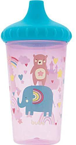 Copo Anti-Vazamento Urso e Elefante - Violeta e Azul - Buba