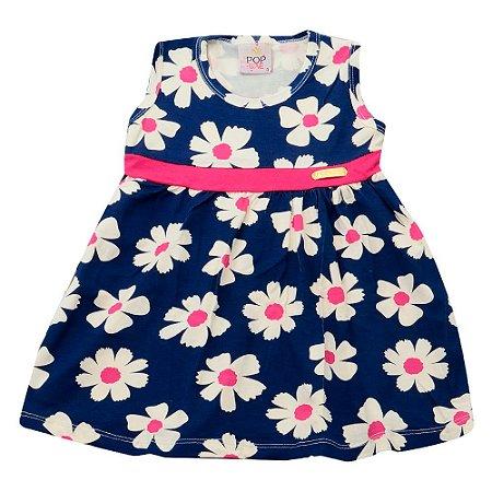 Vestido Azul Marinho Floral Pop Love