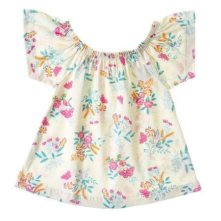 Blusa Infantil Feminina Ciganinha Floral Mundo Mania
