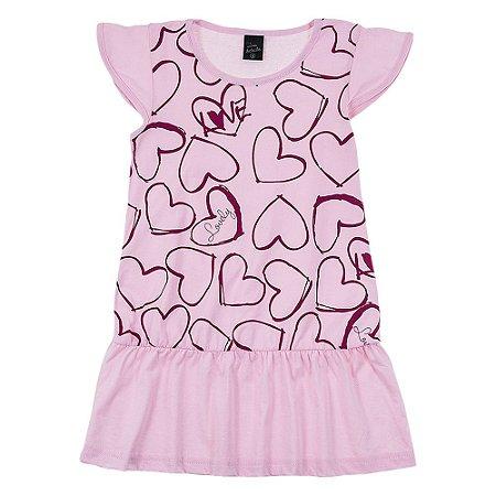 Vestido Infantil Feminino Coração Rosa Scheila Malhas