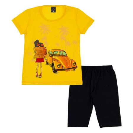 Conjunto Infantil Feminino Fusca Amarelo Scheila Malhas