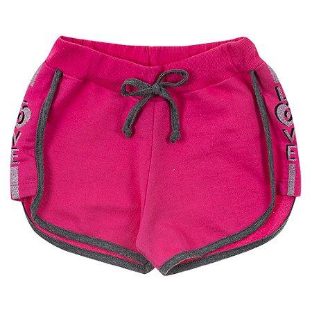 Shorts Infantil Feminino Love Rosa Duzizo