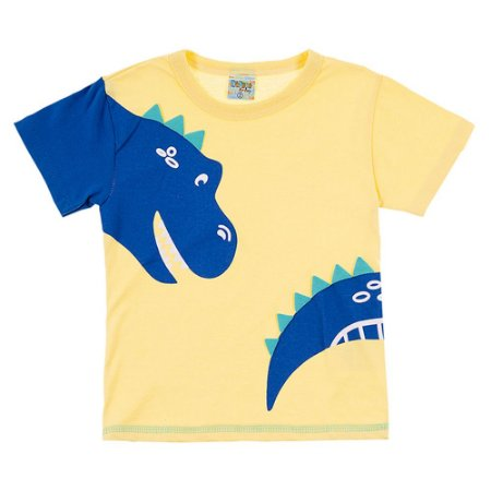Camiseta Infantil Masculina Dino Amarela Didiene