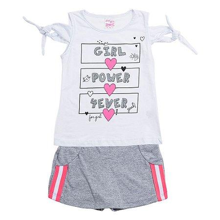 Conjunto Infantil Feminino Power Branco For Girl