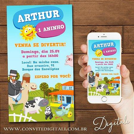 Convite Mundo Bita Fazendinha - Arte Digital