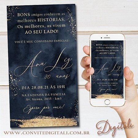 Convite Aniversário Navy e Gold Aquarela - Arte Digital