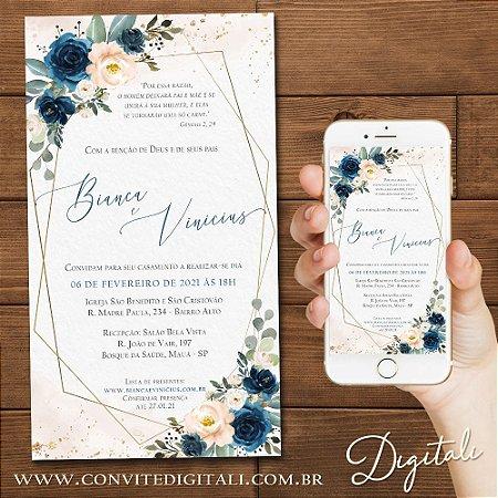 Convite Florido Azul e Nude com Formas Geométricas - Arte Digital