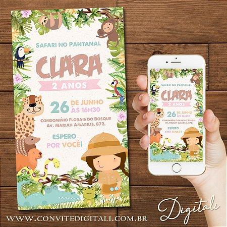 Convite Menininha Safari no Pantanal - Arte Digital
