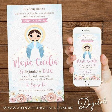 Convite Nossa Senhora das Graças Aquarela Infantil - Arte Digital