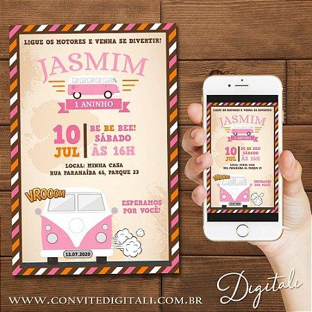 Convite Kombi Rosa - Arte Digital