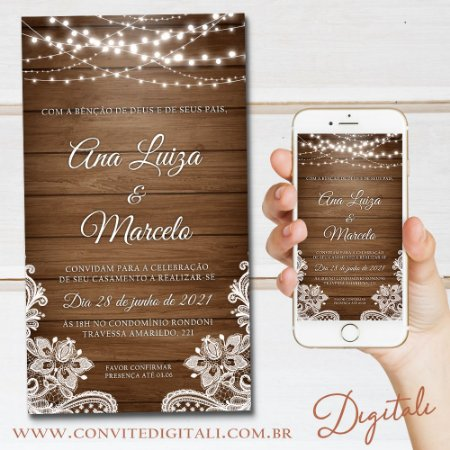 Convite Rústico Madeira Florido com Luzes - Arte Digital