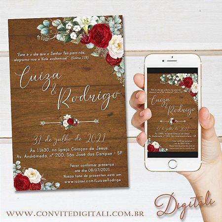 Convite Rústico Madeira Florido Vermelho e Branco - Arte Digital