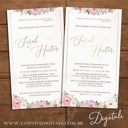 Convite Florido Rosa e Dourado Aquarela - Arte Digital