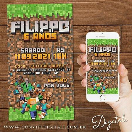 Convite Minecraft - Arte Digital