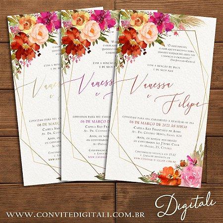 Convite Florido Rosa Terracota e Dourado Aquarela - Arte Digital