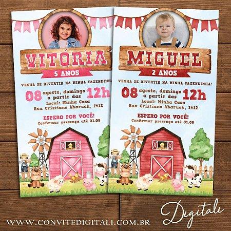 Convite Fazendinha Aquarela com Foto - Arte Digital