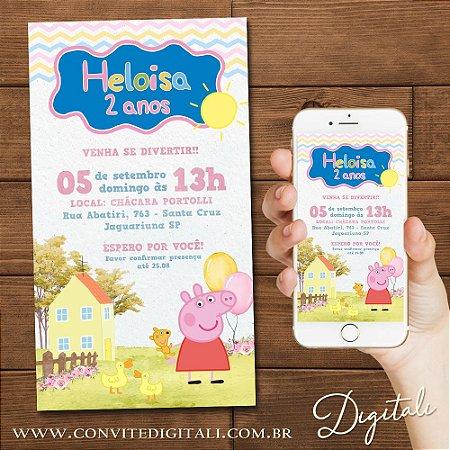 Convite Peppa Pig Aquarela - Arte Digital