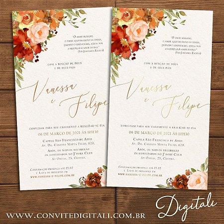 Convite Aquarela Florido Terracota e Dourado - Arte Digital