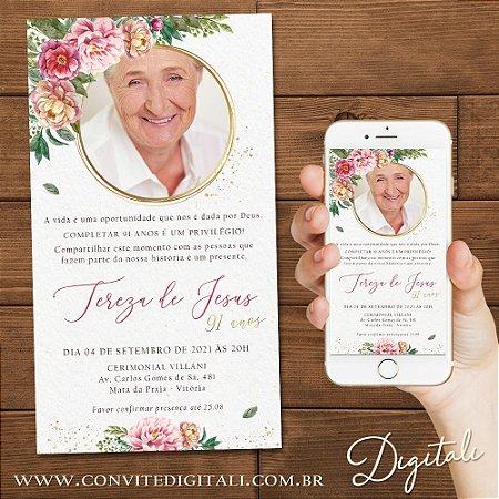 Convite Florido Aniversário com Foto - Arte Digital