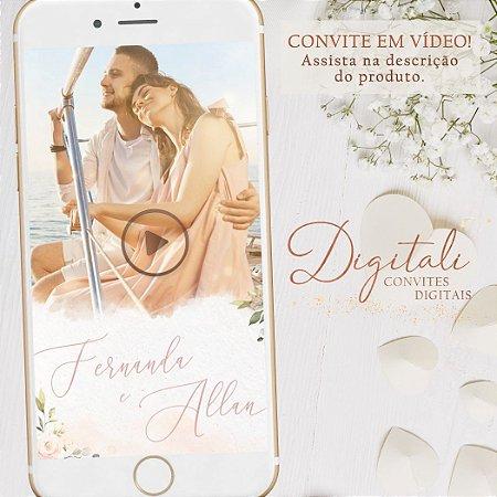 Convite Animado em Vídeo para Casamento Rosa, Branco e Dourado
