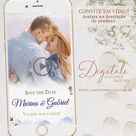 Save the Date Animado em Vídeo para Casamento Azul Royal e Dourado