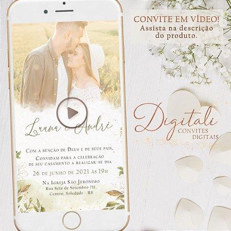 Convite Animado em Vídeo para Casamento Greenery Folhagens com Foto