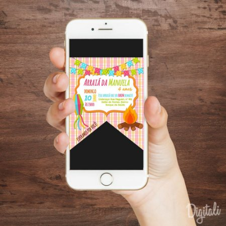 Convite Festa Junina Bandeirinha - Arte Digital