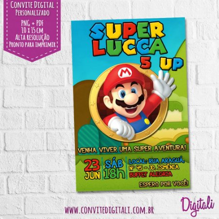 Convite Super Mario Bros - Arte Digital