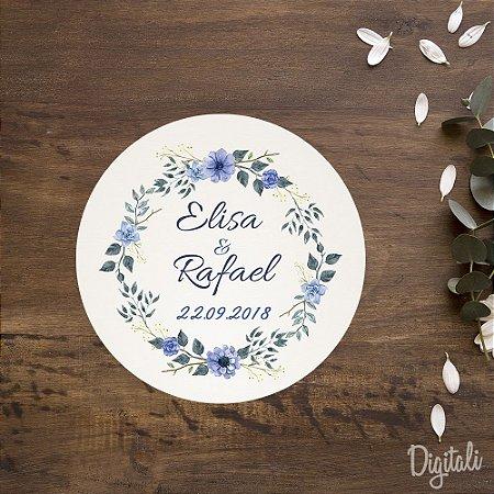 Tag Casamento Azul Florido - Arte Digital