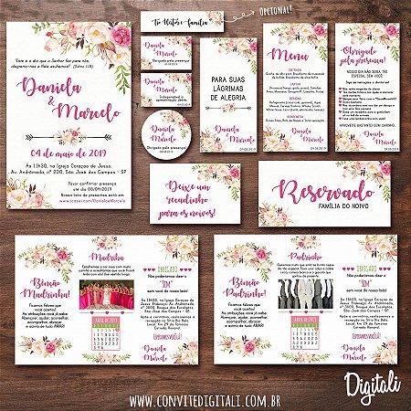 Identidade Visual Casamento Florido Rosa Completa - Arte Digital