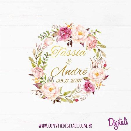 Brasão Casamento Florido Rosa - Arte Digital